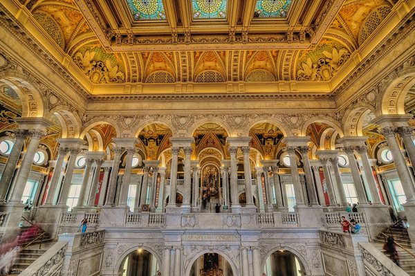 The Great Hall inside the Thomas Jefferson Building of the Library of Congress in Washington, DC.