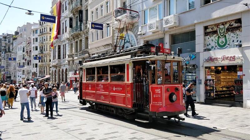 a red tram in instanbul