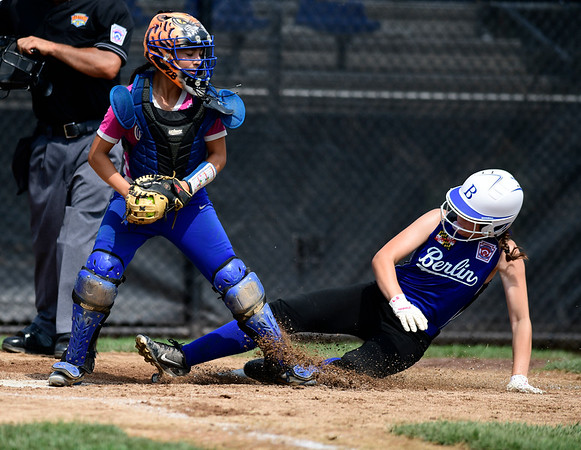 7/20/2019 Mike Orazzi | Staff New Yorks Jovanna Donaruma (28) forces out Maryland's Josephine Palmer (12) during Little League softball at Breen Field in Bristol on Saturday.