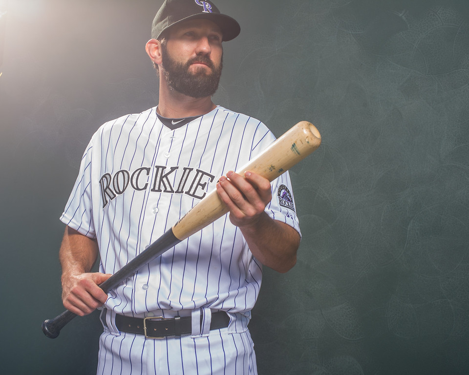 . Jason Pridie #26 of the Colorado Rockies poses for a portrait at the Salt River Fields at Talking Stick on February 26, 2014 in Goodyear, Arizona. (Photo by Rob Tringali/Getty Images)