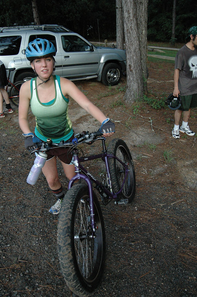 """""""What's next?"""" Kayla's done pedaling a bike half her weight effortlessly around the roots and ruts of Red Bug Trail."""