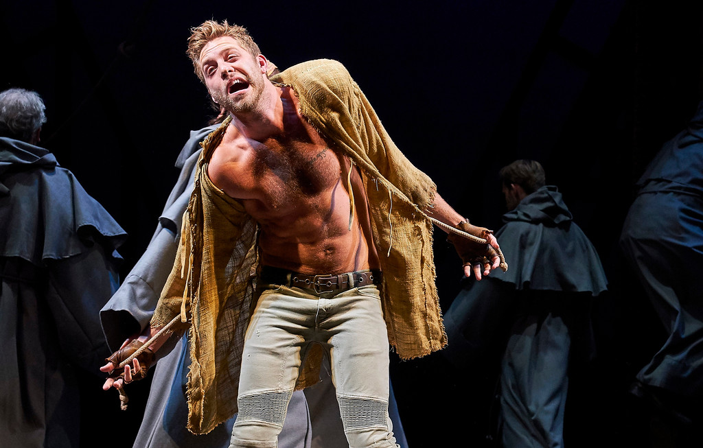 . Corey Mach portrays Quasimodo in the Great Lakes Theater production of �The Hunchback of Notre Dame.� The show continues through Nov. 4 at Playhosue Square\'s The Hanna Theatre. For more information, visit www.greatlakestheater.org. (Roger Mastroianni)