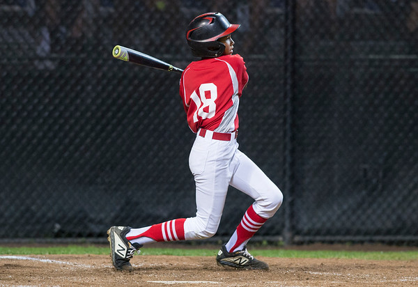 08/08/19 Wesley Bunnell | Staff New York defeated Washington, DC 15-4 on Thursday August 8, 2019 in a Mid Atlantic Region tournament game. Josue Santana (18).