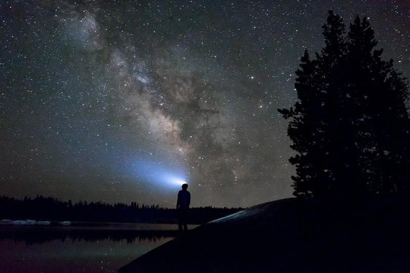 Headlamp under a starry sky
