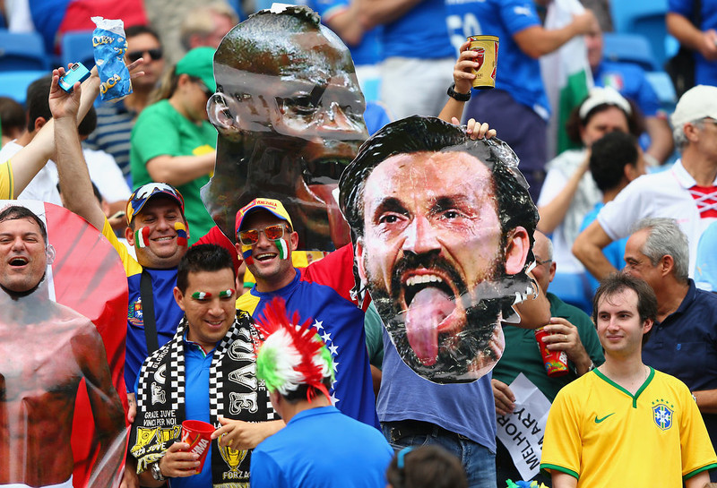. Italy fans hold a cutout of Andrea Pirlo during the 2014 FIFA World Cup Brazil Group D match between Italy and Uruguay at Estadio das Dunas on June 24, 2014 in Natal, Brazil.  (Photo by Jamie Squire/Getty Images)