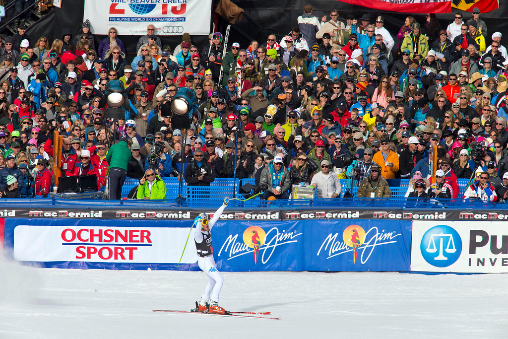 . Christof Innerhofer of Italy, reacts in the finish area after his run in the men\'s World Cup downhill ski race in Beaver Creek, Colo., on Friday, Nov. 30, 2012. Innerhofer won the race. (AP Photo/Nathan Bilow)