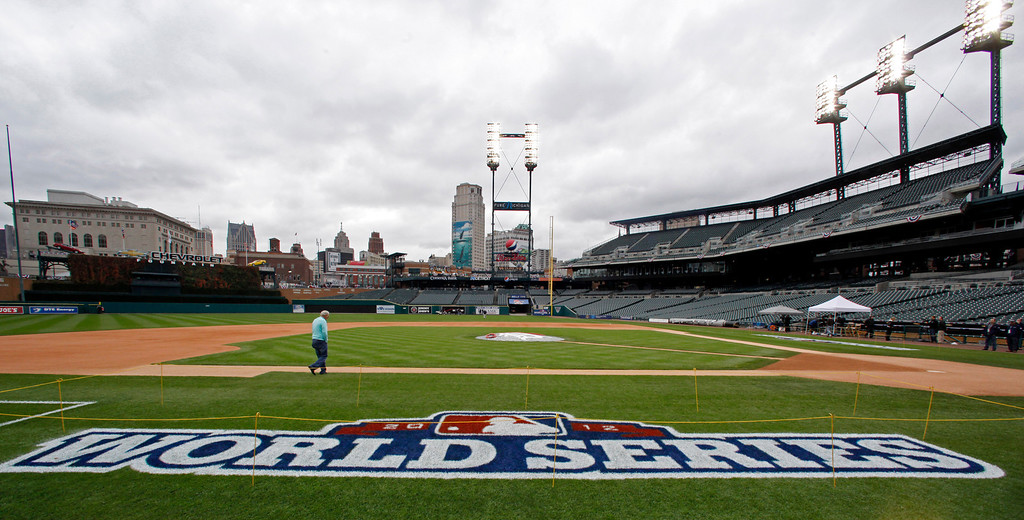 . Detroit Tigers manager Jim Leyland walks around the field at Comerica Park in Detroit on Friday, Oct. 26, 2012. The Tigers host the San Francisco Giants in Game 3 of baseball\'s World Series on Saturday. The Giants lead the best-of-seven games series 2-0. (AP Photo/Paul Sancya )