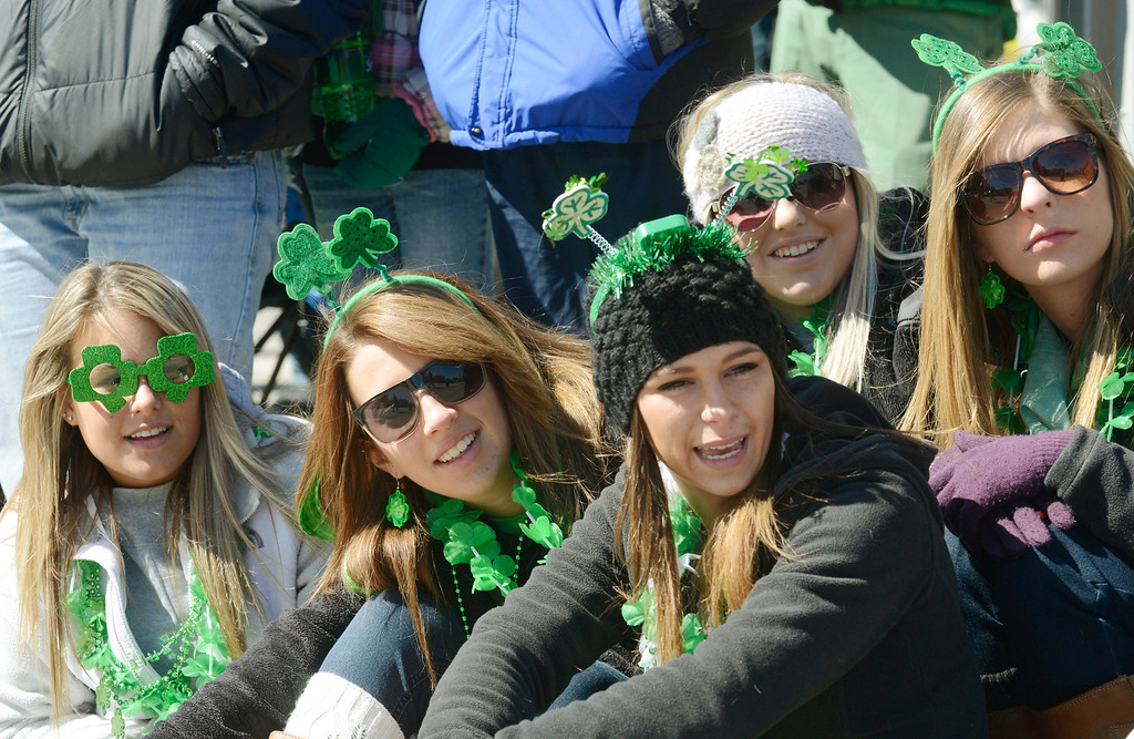 . Maribeth Joeright/MJoeright@News-Herald.com<p> Eastlake North seniors, from left, Iva Bradvica, Kourtney Kline, Sam Hoefle, Courtney Jeschelnig and Shannon Kokish take in the sights and sounds of the 147th annual St. Patrick\'s Day parade in Cleveland, March 17, 2014.