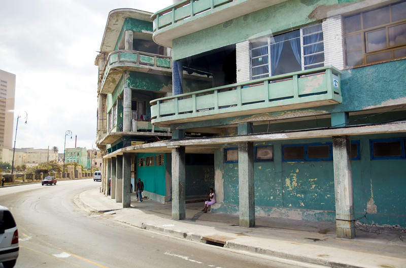 Apartments along Havana's once-splendid waterfront boulevard, El Malecón, show the effects the nation's poverty.  The average Cuban lives on only $20 per month.