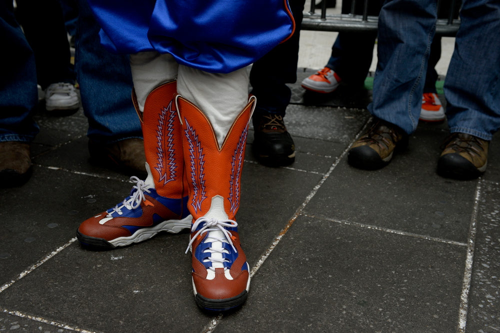 ". Rocky Brougham ""The Colorado Leprechaun\"" visits Times Square in New York, NY January 31, 2014. The NFL has transformed 13 blocks of Broadway into a center for Super Bowl activity before Sundays Super Bowl between the Denver Broncos and Seattle Seahawks. (Photo By Craig F. Walker / The Denver Post)"