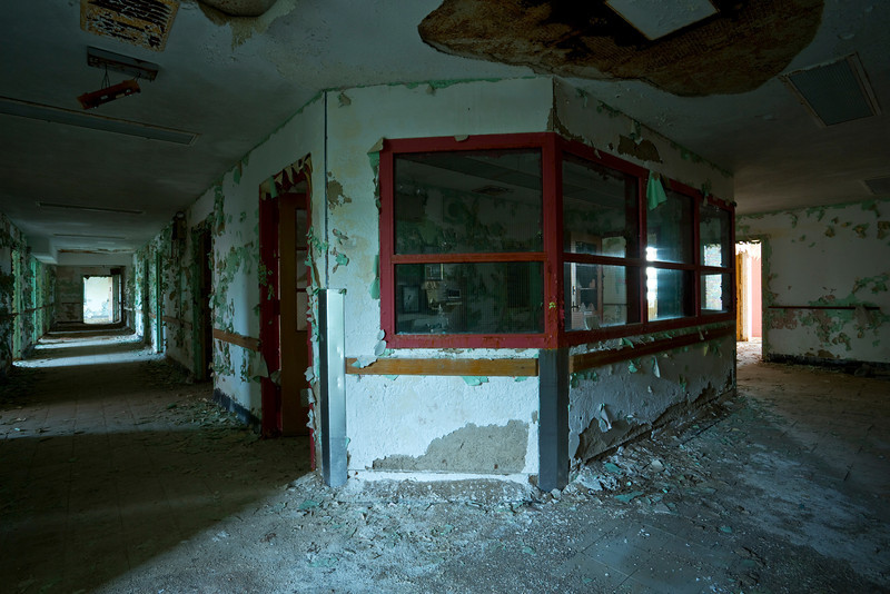 Nurses' station on the top-floor operating suite of the medical tower, Harlem Valley State Hospital.