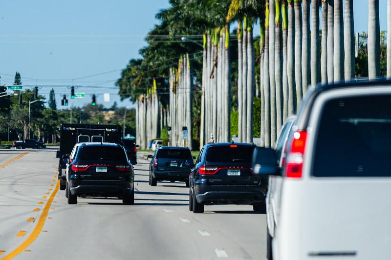 President Donald J. Trump's motorcade travels along Congress Ave., on its way to Trump International Golf Club on Summit Blvd. in West Palm Beach on Sunday, January 05, 2020. [JOSEPH FORZANO/palmbeachpost.com]