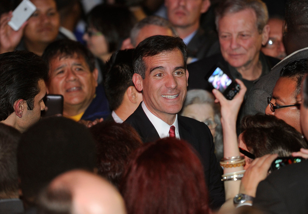 . Los Angeles Mayor candidate Eric Garcetti with supporters at the Avalon in Hollywood Tuesday, March 5, 2013. (Hans Gutknecht/Staff Photographer)