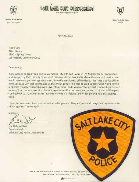 2011, Letter from SLC Policeman