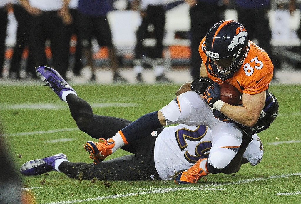 . Denver Broncos wide receiver Wes Welker (83) catches a pass and runs past Baltimore Ravens cornerback Corey Graham (24) in the first quarter.   (Photo by John Leyba/The Denver Post)
