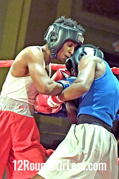 Bout 10 Marcell Bonner, Blue Gloves, Glenville Rec/Bob Davis BC, Cleveland -vs- Kemp Tarver, Red Gloves, Tallmadge Red,Rodriguez BC, Akron, 141 Lbs, Recreation Battle Championship