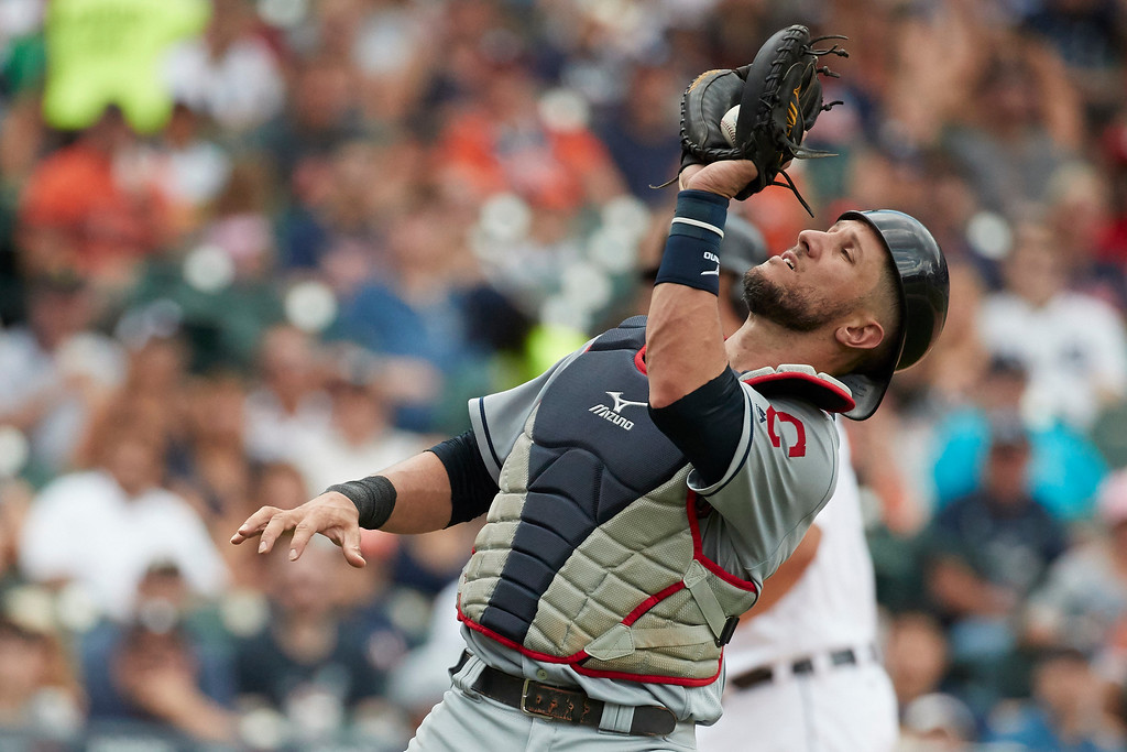 . Cleveland Indians catcher Yan Gomes (7) makes a catch on a pop up by Detroit Tigers Miguel Cabrera during the fifth inning in the first baseball game of a doubleheader in Detroit, Saturday, July 1, 2017. (AP Photo/Rick Osentoski)