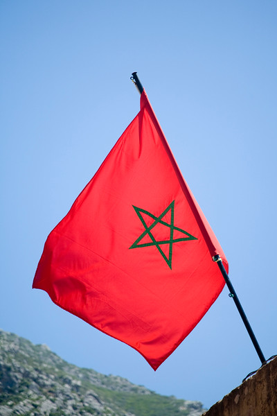 The Moroccan flag, Chefchaouen.