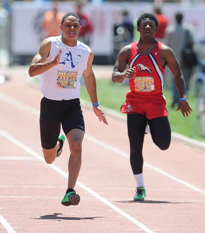 . Phillip Johnson of Bishop Amat finished second in the 100 meter dash seeded High School during the Mt. SAC Relays in Hilmer Lodge Stadium on the campus of Mt. San Antonio College on Saturday, April 20, 2012 in Walnut, Calif.    (Keith Birmingham/Pasadena Star-News)
