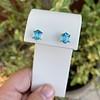 3.47ctw Blue Zircon Hexagon Stud Earrings 5