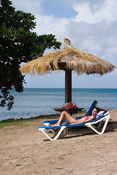 Tina sunning - empty chair beside her is my place in the shade