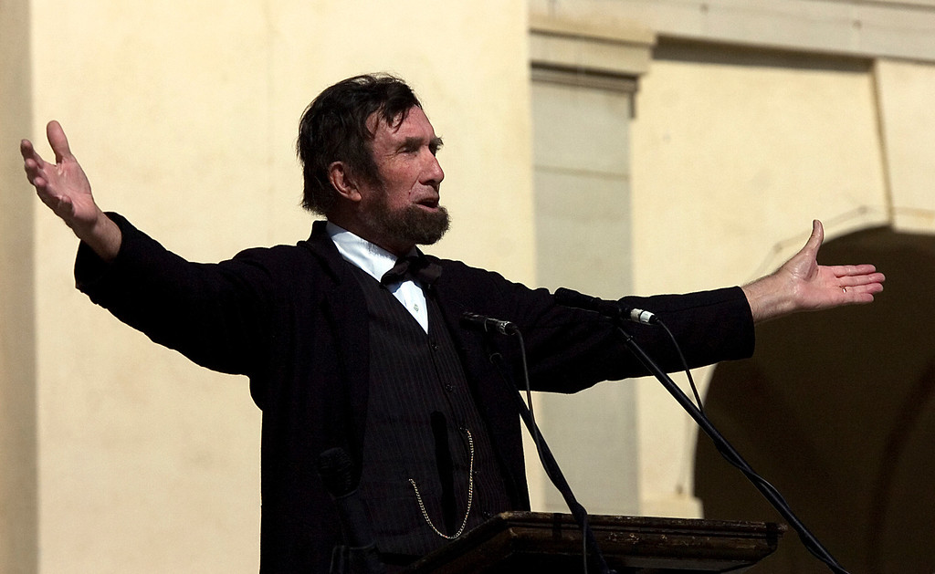 . Donald Ancell, of Oxnard, portrays President Abraham Lincoln during the 75th annual Lincoln Pilgrimage in Redlands, CA., Saturday, February 8, 2014. (Photo by Jennifer Cappuccio Maher/Inland Valley Daily Bulletin)