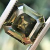 4.57ct Fancy Dark Greenish Yellow Brown Asscher Cut Diamond GIA 1