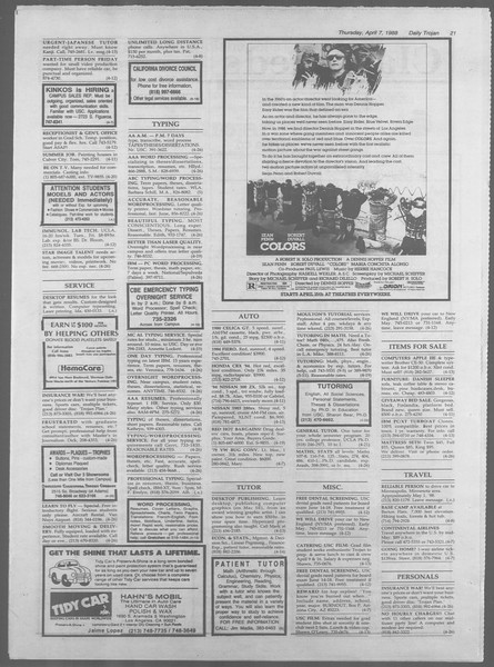 Daily Trojan, Vol. 106, No. 55, April 07, 1988