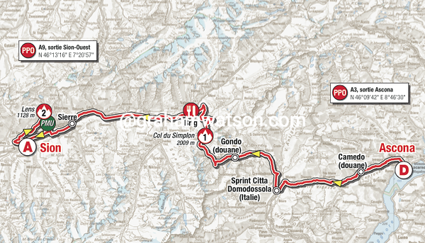 Tour de Romandie:  Stage 1 - Brig > Sion, 88.8kms