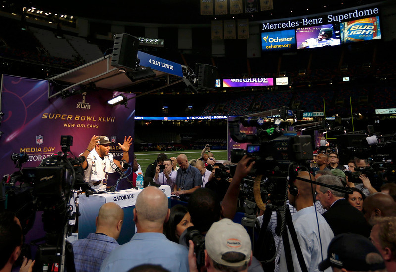 . Baltimore Ravens inside linebacker Ray Lewis speaks to journalists during Media Day for the NFL\'s Super Bowl XLVII in New Orleans, Louisiana January 29, 2013. The San Francisco 49ers will meet the Ravens in the game on February 3. REUTERS/Sean Gardner