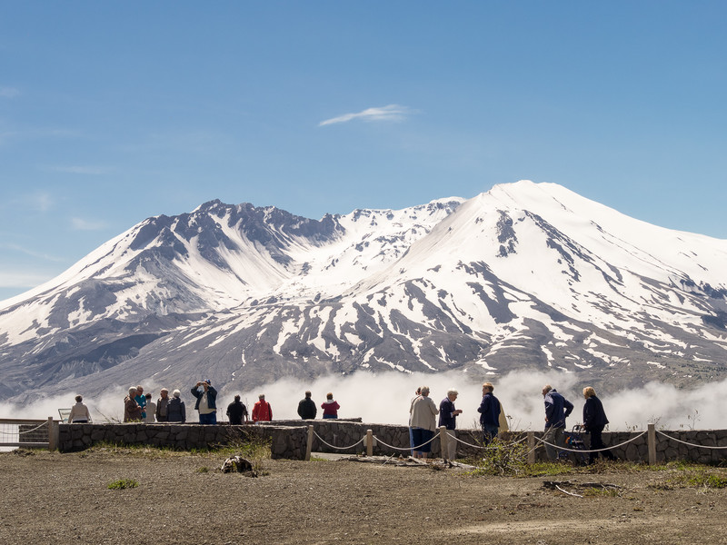 Tourists Viewing Mt. St. Helens in Snow and Fog