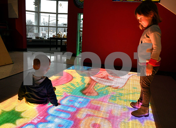 12/23/2017 Mike Orazzi   Staff Members of the Powers family, Al, Emily, Maston, 16 months and Adie, 3 years, while at the Imagine Nation, A Museum Early Learning Center, on a icy Saturday morning in Bristol.