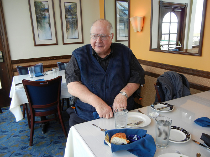 Dad at Arnie's Restaurant overlooking the ferry terminal near Mukilteo.