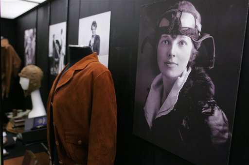 """. Photographs and personal items, photographed on March 2, 2010, were  part of the exhibit \""""Amelia Earhart: The Aviator, the Advocate, and the Icon\"""" that ran at Purdue University in West Lafayette, Ind.     (AP Photo/Journal & Courier, John Terhune)"""