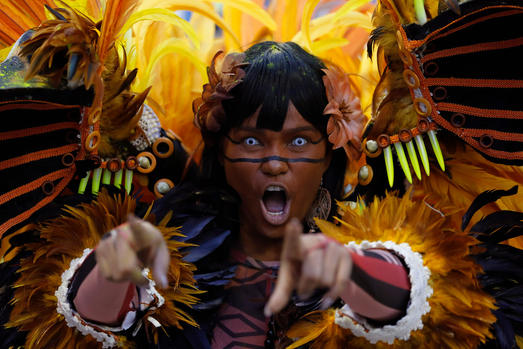 . A performer from the Beija Flor samba school parades during Carnival celebrations at the Sambadrome in Rio de Janeiro, Brazil, Monday, Feb. 27, 2017. (AP Photo/Leo Correa)