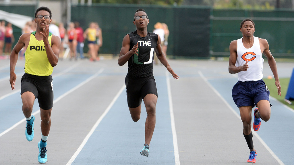 . Upland\'s Dominique Mosley competes in the division 3 200 meters race during the CIF Southern Section track and final Championships at Cerritos College in Norwalk, Calif., Saturday, May 24, 2014.   (Keith Birmingham/Pasadena Star-News)