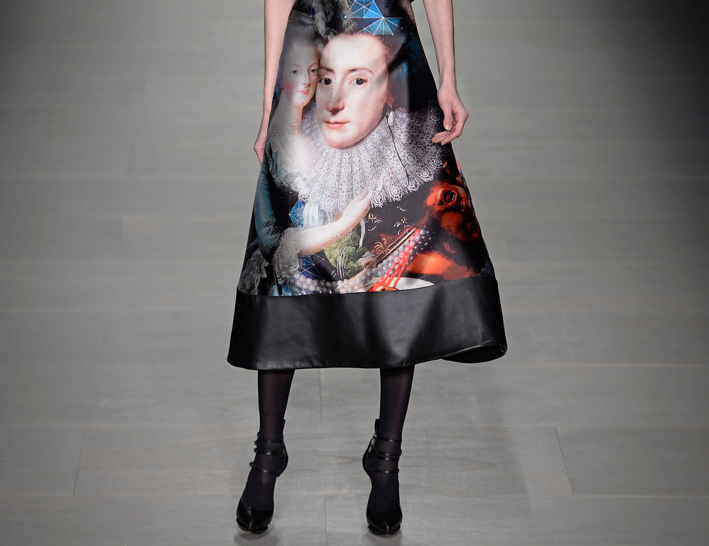 . A model presents a creation from the Fall/Winter 2014 collections by Jean-Pierre Braganza at the London Fashion Week in Somerset House in London, Britain, 14 February 2014. The presentations run from 14 to 18 February.  EPA/FACUNDO ARRIZABALAGA