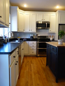 Grain Filling Oak Cabinets to White Painted