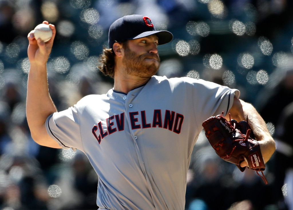 . Cleveland Indians starter Cody Anderson throws against the Chicago White Sox during the first inning of a baseball game Saturday, April 9, 2016, in Chicago. (AP Photo/Nam Y. Huh)
