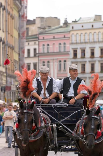Poland, Cracow, horse drawn carriage on Rynek Glowny
