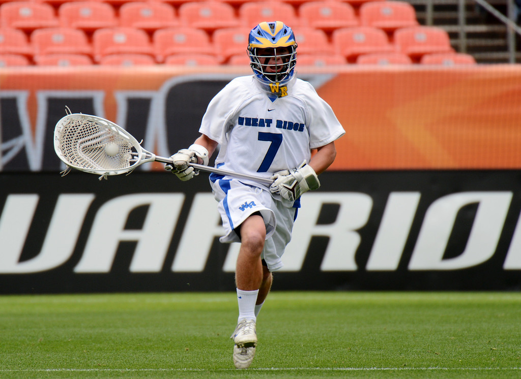 . DENVER, CO. - MAY 18 : Goalie Jensen Makarov of Wheat Ridge High School (7) is in action during 4A Boy\'s Lacrosse Championship game against Air Academy High School at Sports Authority Field at Mile High Stadium. Denver, Colorado. May 18, 2013. (Photo By Hyoung Chang/The Denver Post)