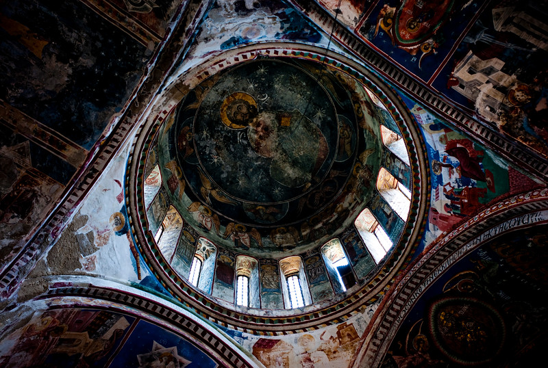 August 2011, Gory, Georgia:  Paintings of  christ seen in an orthodox monastery near Gori, Georgia.    Since 2006 the BTC has allowed Azerbaijan to export its oil to world markets through Georgia and Turkey, thus avoiding Russia.  It has given Azerbaijan a greater sense of independence and a new role for Georgia in Europe's energy security to the annoyance of Russia.  Some blame the BTC for Russia's continued covert involvement in regional latent conflicts especially the South Ossetian crisis which led to the Russia-Georgia war.