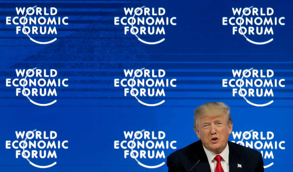 . U.S. President Donald Trump speaks during a conversation with the founder of the forum, Klaus Schwab, during the annual meeting of the World Economic Forum in Davos, Switzerland, Friday, Jan. 26, 2018. (AP Photo/Markus Schreiber)