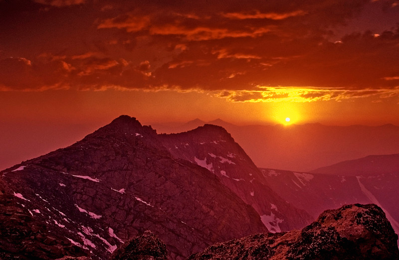 Sunset from summit of Mount Evans two days after start of Hayman fire near Denver, Colorado in June 2002.