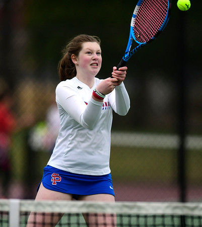 4/18/2019 Mike Orazzi | Staff St. Paul's Tessa Rogers during Thursday's girls tennis match with Naugatuck in Bristol's Page Park.