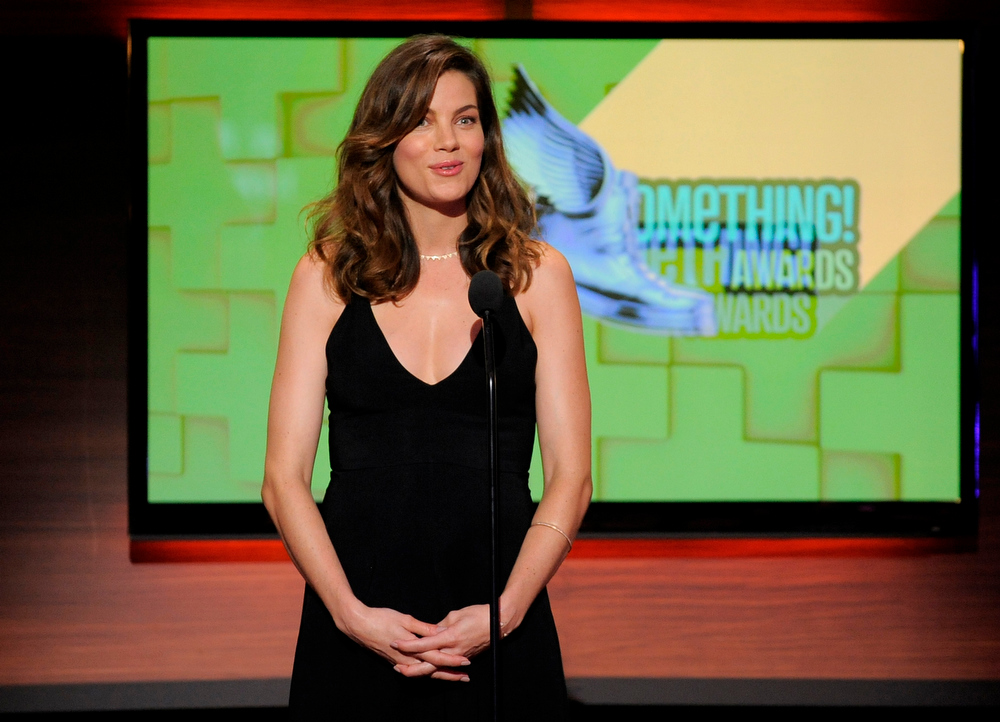 . Presenter Michelle Monaghan speaks on stage at the Do Something Awards at the Avalon on Wednesday, July 31, 2013, in Los Angeles. (Photo by Chris Pizzello/Invision/AP)
