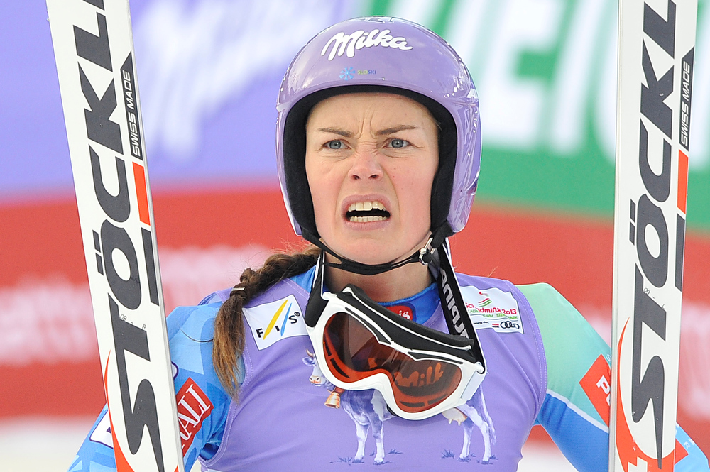 Description of . Slovenia's Tina Maze reacts as US Lindsey Vonn (not pictured) falls during the women's Super-G event of the 2013 Ski World Championships in Schladming, Austria on February 5, 2013. SAMUEL KUBANI/AFP/Getty Images