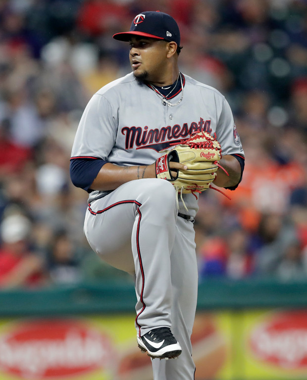 . Minnesota Twins starter pitcher Adalberto Mejia delivers in the first inning of the team\'s baseball game against the Cleveland Indians, Tuesday, Aug. 7, 2018, in Cleveland. (AP Photo/Tony Dejak)