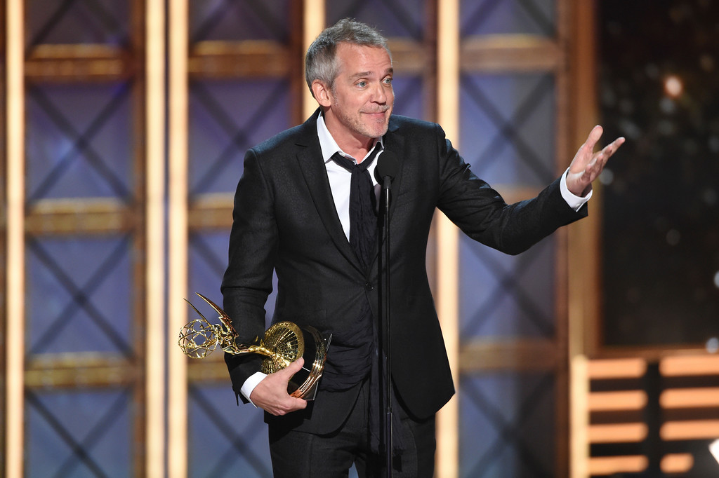 ". Jean-Marc Vallee accepts the award for outstanding directing for a limited series, movie or a dramatic special for ""Big Little Lies\"" at the 69th Primetime Emmy Awards on Sunday, Sept. 17, 2017, at the Microsoft Theater in Los Angeles. (Photo by Phil McCarten/Invision for the Television Academy/AP Images)"