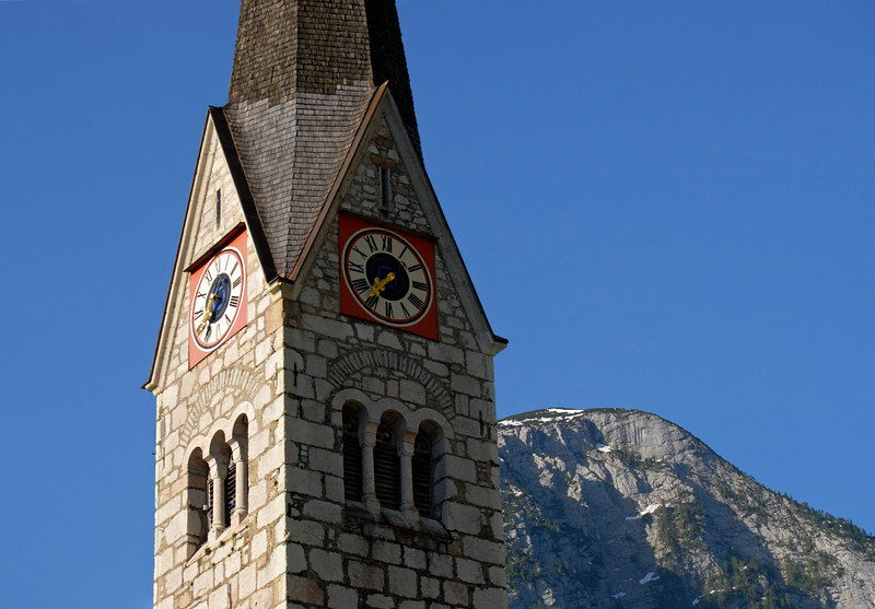 Clock Tower of Protestant Church in Hallstatt, Salzkammergut, Upper Austria